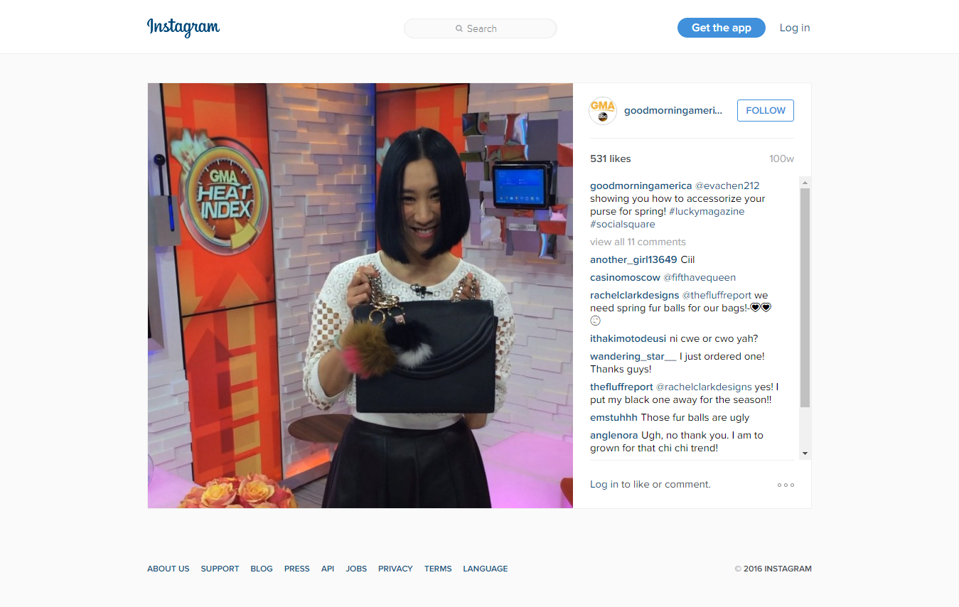 """Good Morning America on Instagram  """" evachen212 showing you how to accessorize your purse for spring   luckymagazine  socialsquare"""""""